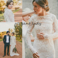 Wholesale colorful wedding dresses online - Vintage Long Sleeve bohemian Wedding Dresses Full Lace See Through Bateau Floor Length Spring Fall Western Country Wedding Bridal Gowns