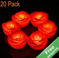Wholesale red rose led lights resale online - LED Flameless Candle Light Rose Design Wedding celebration