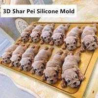 animal pei venda por atacado-BONITO molde de silicone Moldes Shar Pei 3D filhote de cachorro Mousse Mold, Animais Chocolate Mold Aroma DIY Moldes