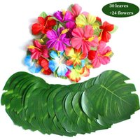 Wholesale luau flowers resale online - 24pcs Flowers Simulation Flower Leaf For Hawaiian Luau Party quot Tropical Leaves Table Decorations Hibiscus Flowers