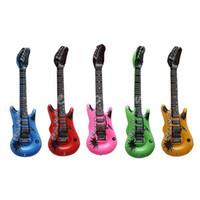 şişme gitarlar toptan satış-Toptan Satış - Toptan-6pcs Ücretsiz Kargo Güzel Şişme Blow Up Rock Gitar Partisi Çalgı Oyuncak Dirthday Show Hediye Çocuk Eğitim