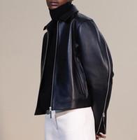 chaqueta de cuero genuino chaqueta de las mujeres al por mayor-Nuevo Desinger Brand Women Abrigos de cuero genuino Turn Down Collar con cremallera Chaqueta de cuero Mujer High Quality Outwear Leather Coat A153