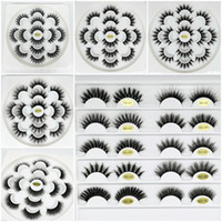 Wholesale eyelash extensions trays for sale - Group buy 7 Pairs D Fake D Mink Eyelashes Mink Lashes Natural False Eyelashes Thick Eyelash Extension Flower Tray Makeup