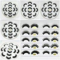 bandejas de pestañas al por mayor-7 pares de pestañas de visón 3D falsas 6D Pestañas de visón Pestañas postizas naturales Extensión de pestañas gruesas Bandeja de flores Maquillaje