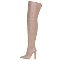 botas altas negras de tacón alto al por mayor-Botas negras sobre las rodillas Botas altas Nude Chunky Heel Muslo Botas talla 44 45 Zapatos de invierno para mujer Botas altos 2019