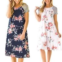 yaz plaj giysileri kadın bohem toptan satış-Kadınlar Çiçek Baskılı Elbise 2019 Yaz Bohemian Raglan çizgili kollu Plaj Elbise moda Hamile Giyim C6322