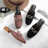 ingrosso pantofole femminili-Scamosciati Muller Shoes Square Head Pantofole spesse Fashion New Women's Chain Buckle Flat Slippers Accessori in metallo Scarpe Muller