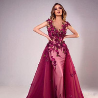 Wholesale d pictures for sale - Group buy 2020 Mermaid Evening Dresses With Detachable Train Luxury D Floral Appliqued Pearl Beaded Sheer V Neck Custom Made Prom Dresses
