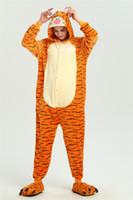 erwachsene fleece-overalls großhandel-Tiger Animal Kigurumi Anime Onesie Kinder Pyjama Erwachsene Fleece Overall Lustige Nachtwäsche Frauen Mädchen Nachtwäsche