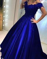 vestidos de noite de organza de seda venda por atacado-Bola dos azuis marinhos do vestido Cheap Prom Dress Fora do ombro Lace 3D Flores frisada Corset Voltar noite de cetim Formal Vestidos Vestidos Nova