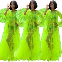 elbiseler alevlendirilmiş etekler toptan satış-Yaz fasion Floresan yeşil see-through tül alevlendi uzun kollu pileli etek seksi Kat-Uzunluk elbise