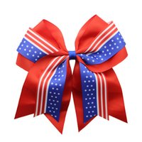 Wholesale pony ring for sale - Group buy USA Flag Ponytail Holder Inch Cheerleader Bowknot Elastic Hair Ties Hair Accessories Dovetail Bow Hair Ring Jewelry Christmas Gift