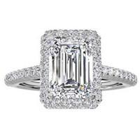 smaragd geschliffene diamanten verlobungsringe großhandel-925 Sterling Silber Verlobungsringe für Frauen Smaragdschliff 4CT Simulierter Diamant Platin Schmuck Größe 5,6,7,8,9,10