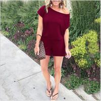 rote schwarze overalls großhandel-Sommer weibliche kurze Ärmel Overalls Tasche T-Shirt verbundene Hose Polyester-Faser schwarz rot Bardian dünnen Abschnitt schnell trocken