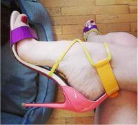 Wholesale red sole stiletto shoes resale online - Hot Colors Summer Sandals Lady Sexy Shoes Brand Red Soles Women Sandals Choca Patent Leather Sandals Latte Wedding Party Dress Shoes