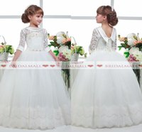 Wholesale lace corset back wedding dresses for sale - Three Quater Sleeves Flower Girl Dresses Princess Corset Lace Up Back Girls Pageant Dresses First Communion Dress Little Kid Holy Dress