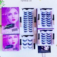 Wholesale magnetic eyelashes resale online - New arrive pairs magnetic false eyelashes set Double magnetic eyeliner tweezers magnetic eyelashes