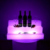 su geçirmez basamaklı ışıklar toptan satış-Su geçirmez Renk değiştirilebilir LED Üç Adımlı Barlar Raflar Tutucu Işıklı up şişe görüntüler bira Sahipleri Toptan Bar Araçları
