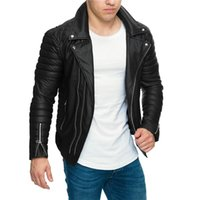 erkek deri yaka toptan satış-Erkek Tasarımcı PU Deri Ceket Motosiklet Devrik Yaka Fermuarlar Slim Fit Mont Ceketler