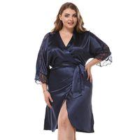 Plus Size Women Loose Robe Casual Lace Trim Robes Gowns Sleepwear Sexy Mini  Home Dress Kimono Bathrobe Nightgown Nightwear 2dabeaed6