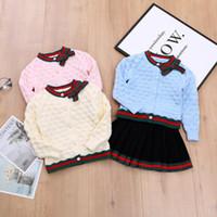 mädchen pullover rock sets großhandel-Kinder Pullover Outfits Shirt + Rock Strickwaren Baby Mädchen Kleidung Set Anzug für Mädchen Herbst Frühling Kinder Baumwolle 2 Stück Kleidung