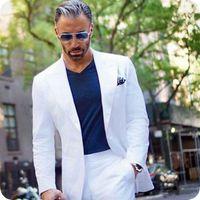 homens smoking traje branco venda por atacado-Mais recentes Casaco Calças Projetos Mens Branco Ternos Do Noivo Smoking Homem de Negócios Blazers Jaqueta de Pico Largo Lapela Traje Homme 2 Peça Terno Masculino