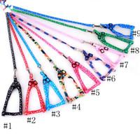 ingrosso accessori collari cane-Cablaggio del cane guinzagli di nylon stampato regolabile Pet Dog collare del cucciolo del gatto Animali Accessori per animali collana della corda cravatta collare EEA552