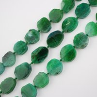 Wholesale agate slab beads for sale - Group buy Full strand Polished Dragon Veins Agates Center Drilled Loose Bead Cabochons Green Agates Natural Stones Slab Slice Charm Making