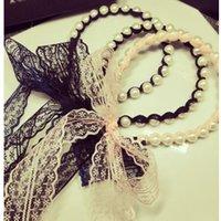 ingrosso merletto nero rosa perla-Black Pink Lace Pearl Bowknot Fascia con nastri lunghi Head Hoop Band Accessori da donna Copricapo Copricapi