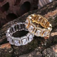 ingrosso raccordo in pietra di gemma-anelli gemma hip hop con pietre laterali per gli uomini lusso rettangolo anello pietra preziosa 18k oro placcato zirconi di rame oro argento gioielli regali bro