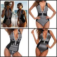 Wholesale elephant patterns for sale - One Piece Women Bikini Printing Sexy Black White Swimsuit Little Elephant Pattern Retro Zipper Fashion Bardian New Swimwear rlD1