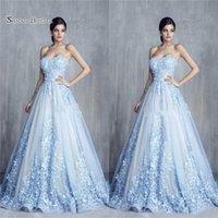 çiçekler el yapımı tatlım toptan satış-A-line Büyüleyici 3D Çiçek Açık Mavi Aplikler Parti Elbiseler El Yapımı Çiçek Sevgiliye Balo Elbise Vestidos De Novia