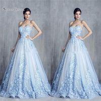 moderne blumenapplikation großhandel-A-line Charming 3D Floral Hellblau Appliques Party Kleider Handgemachte Blume Schatz Abendkleid Vestidos De Novia