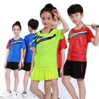 tischtennis kurz t-shirt großhandel-Mädchen Tennis T Shirt + Röcke / Shorts, Kinder T-Shirt Badminton Kleidung, Jungen Tennis Jersey Kleidung, Tisch Sets Tisch Anzüge