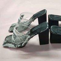 chaussures à talons de plage achat en gros de-Luxe Jelly Designer Pantoufles PVC Transparent Slipper Sandale À Talons Haut Diapositives Tige En Cuir Contraste Couleur Serpentine Plage Chaussures Femme 42