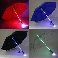 luz de sabre de luz venda por atacado-7 cores LED sabre de luz acender umbrella espada laser light up guarda-chuvas de golfe mudando no eixo / construído em guarda-chuva do flash da tocha