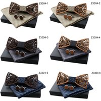 Wholesale new designs for silk printing for sale - Group buy Oeientree Romantic Hollow Wood Bow ties Bowtie with handkerchief Cufflinks For Men New Design Christmas gift