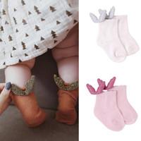 ingrosso le ragazze dei bambini calzino il formato-4 colori calzini per bambini nuovi arrivi Bambina con calzini in cotone per bambini con calza Angel Wing taglia 0-2T