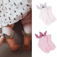 kindersocken großhandel-Lolita 4 Farben Baby Kinder Socken Neu eingetroffen Girls With Angel Wing Socken Kinder Baumwollsocken Größe 0-2T