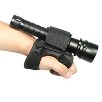 ingrosso guanti di braccio nero-Cinturino da polso subacqueo da immersione Subacqueo da immersione LED Torch Holder Soft Black Hand Arm Mount Wrist Strap Guanto