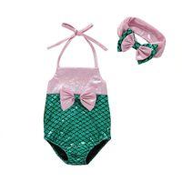 Wholesale mermaid headbands girls resale online - 2019 New Mermaid Swimsuit for baby girl One piece Shinning Swimwear with headband Halter Front Bowknot Beachwear Summer M Y DHL