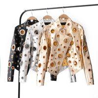 chaquetas de piel sintética biker al por mayor-Nueva para mujer Moda para mujer Hueco Decoración de cuero de imitación Biker Club Chaqueta Abrigo corto Negro Plata Oro