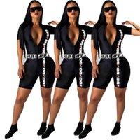 erkek kısa bodysuits toptan satış-F Mektup Tulumlar Derin V Boyun Kısa Kollu Bodysuits Mektup Baskılı Moda Fermuar Şort Pantolon LJJO6760