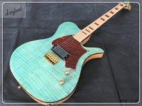 reliure guitare érable achat en gros de-guitare électrique, voir à travers le haut et le dos de corps bleu mince avec le grain de la flamme, le manche et la touche en érable, la reliure d'une tortue rouge et le pickguard!