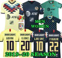 sarı futbol forması gömlek toptan satış-G. Dos Santos 19 20 ev Amerika Sarı Forma futbol R.SAMBUEZA P.AGUILAR 2019 2020 uzakta Meksika takımı üçüncü yeşil Futbol Forması KADIN