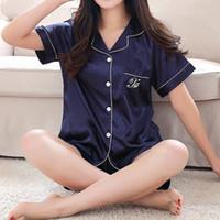 plus größe polyester-pyjama großhandel-Womens Silk Satin Pyjamas Pyjamas Set Kurzarm Nachtwäsche Pyjama Pyjamas Anzug Female Sleep Zweiteiler Loungewear Plus Size