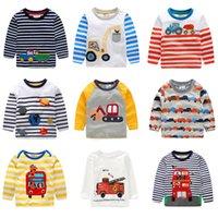 bas garçons vêtements enfants achat en gros de-Enfants Tops Manches Longues Enfants Designer Vêtements Garçons Filles Dessin Animé Coton Basique Chemise Bébé Col Rond Tees 19