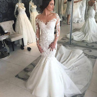 Wholesale dress marriage luxury resale online - 2019 Luxury Arabic Sheer Long Sleeves Lace Mermaid Wedding Dresses Mesh Top Applique Sweep Train Wedding Bridal Gowns Robe de marriage