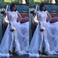 pena 12 venda por atacado-Branco Mulheres Jumpsuit com trem destacável alta Neck Lace Appliqued cristal manga comprida Prom vestido de penas de luxo vestidos de noite formais 4273