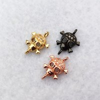 Wholesale copper jewelry findings resale online - Copper Skull Head CZ Pave Charm Connector DIY Cool Punk Skeleton Beads Fit Bracelet Necklace Jewelry Finding CT483
